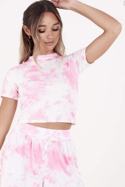 Pink & White Tie Dye Crop Top